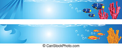 Underwater Scene - Background illustrations of tropical...