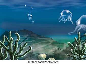 Underwater scene - Highly detailed cartoon background 59 - illustration
