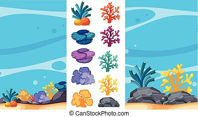 Underwater scene with coral reefs