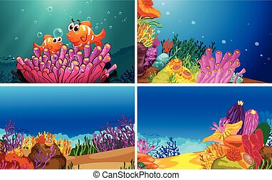 Illustration of four scenes of underwater