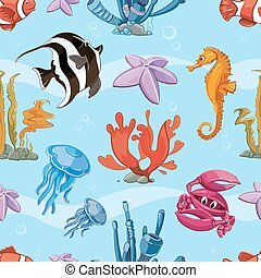 Underwater seamless vector background with sea animals