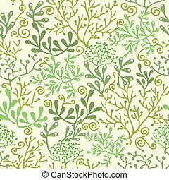 Underwater seaweed garden seamless pattern background