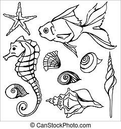 Underwater Set Flat Colorfull Illustration 2