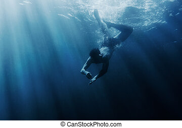 underwater., snorkeling, człowiek