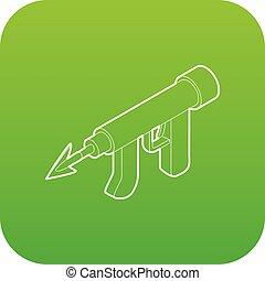 Underwater speargun icon green vector isolated on white...