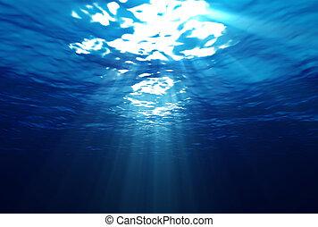 underwater, strahlen, licht