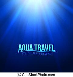 Underwater sunrays for aqua travel design. Vector illustration.
