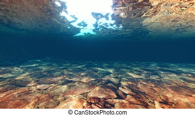 Underwater swimming River Bed