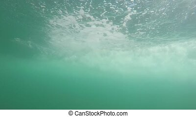 Underwater trajectory from fast floating boat with tourists...