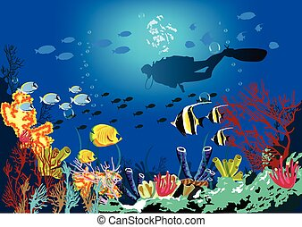 Coral reef with various species of fish and silhouette of...