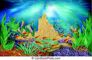 Underwater castle. Fairy tale castle under the sea, hand ...