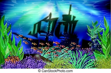 Underwater tropical wallpaper with ship , vector illustration