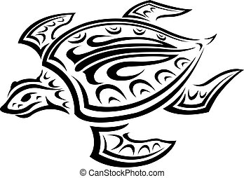 Underwater turtle in tribal style for tattoo or mascot...