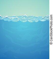 Underwater vector background. Sea or ocean water and waves.