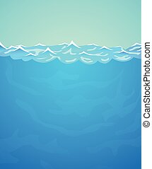 Underwater vector background. Sea or ocean water and waves.