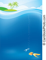 Underwater - tropical background with the goldfish