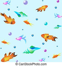 Underwater vector pattern with fishes. Sea texture