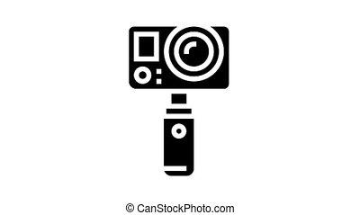 underwater video camera animated glyph icon. underwater video camera sign. isolated on white background