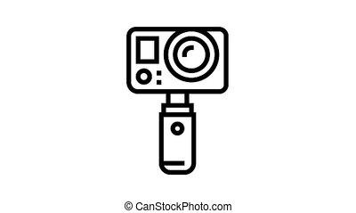 underwater video camera animated black icon. underwater video camera sign. isolated on white background