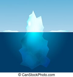 Underwater view of iceberg. Landscape background