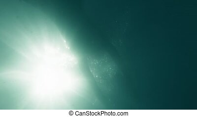 Underwater view to a girl bathing in the sea - Underwater...