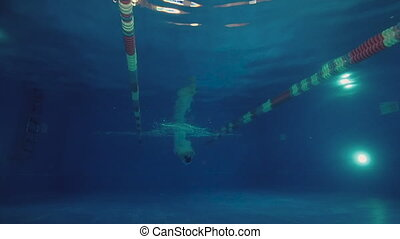 Underwater view to the beautiful professional swimmer diving into the pool and swimming crowl stroke.