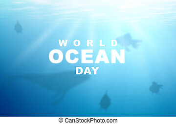 Underwater view with World Ocean Day text