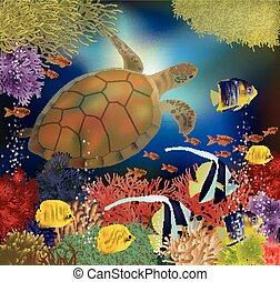 Underwater wallpaper with sea turtle, vector illustration
