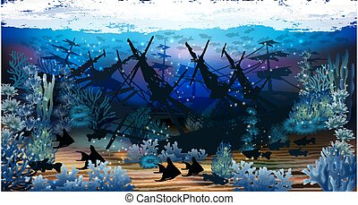 Underwater wallpaper with sunken ship, vector illustration