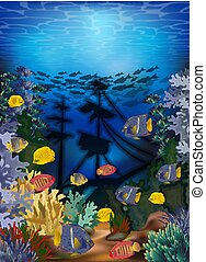 Underwater wallpaper with tropical fish and sunken ship