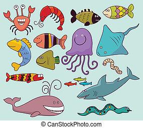 Underwater wildlife - Vector illustration, marine animals,...