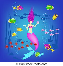Underwater world, little mermaid, fishes, plants and a pearl, vector illustration