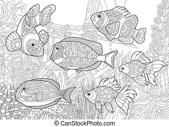 Underwater world of fishes - Coloring page of underwater...
