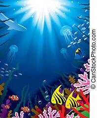 Underwater world - Vector illustration with underwater world...