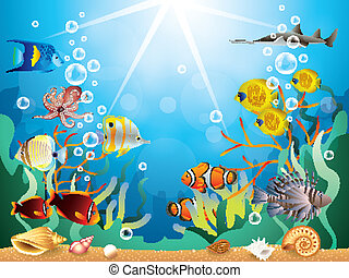 Underwater world with reefs and tropical fishes vector illustration