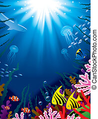 Underwater world - Vector illustration with underwater world...