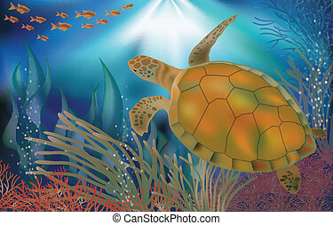 Underwater world wallpaper turtle