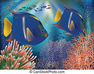 Underwater world wallpaper with tropical fish, vector vector illustration