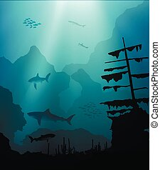 underwater world with sharks and sunken ship - underwater...