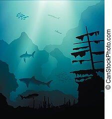 underwater world with sharks and sunken ship