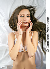 underwear., 정상, 광고하는 것, 성적 매력이 있는, 모델, 보이는 상태