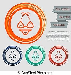 Underwear, bikini icon on the red, blue, green, orange buttons for your website and design with space text. Vector