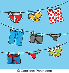 Underwear Clothesline - Cartoon of men's underwear hanging...