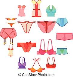 Underwear icons set color, cartoon style