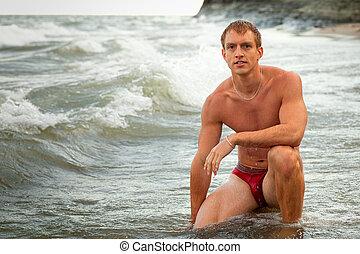 Underwear Model on Beach