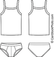 Underwear - Vector illustration of men's underwear. Singlet ...