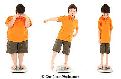 underweight, 平均, スケール, 肥満, 子供