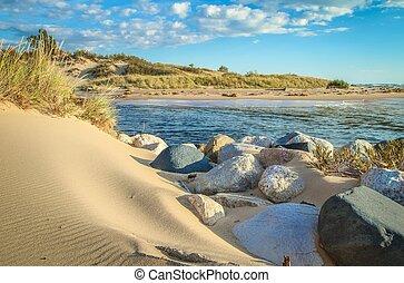 Sand dunes along the pristine shores of Lake Michigan. Ludington State Park. Ludington, Michigan.