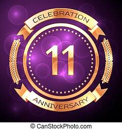 undici, anni, celebrazione anniversario, con, dorato, anello, e, nastro, su, viola, fondo.