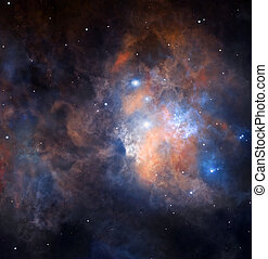 Bright nebula with complex structure is shining in deep space